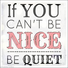 If You Can't Be Nice Be Quiet