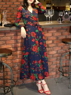 Shop Maxi Dresses - Multicolor Printed A-line Long Sleeve Wrap Dress online. Discover unique designers fashion at StyleWe.com.