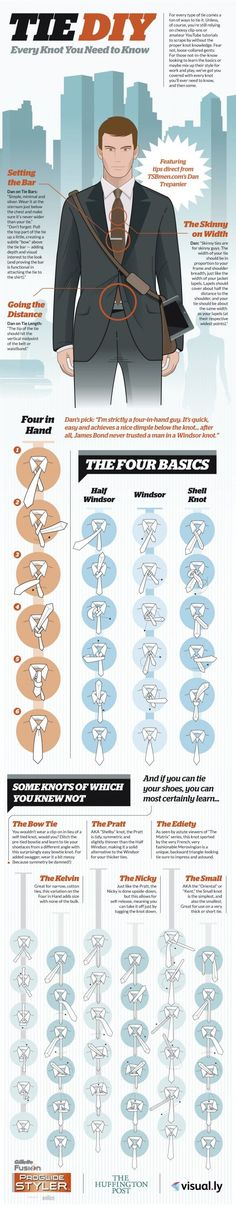 Tie DIY Infographic. Every knot you need to know. #Fashion #Men.