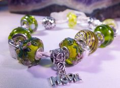 HOPE Lime Green Beads on White Leather by BlingItOutLoudCharms