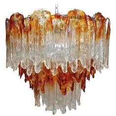 Italian Murano Fiamme Glass Chandelier by Mazzega 1