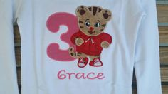 Tiger Birthday Applique Girls Shirt With Hot Pink Name Number by fabuellaboutique. Explore more products on http://fabuellaboutique.etsy.com