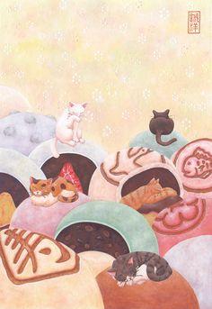 もちもち大福ふかふか饅頭 Kids Rugs, Sweets, Drink, Cats, Illustration, Image, Food, Decor, Animals