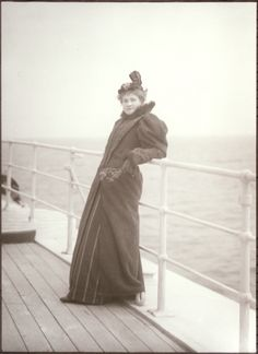 American Photographer: Alfred Stieglitz, (1864-1946)  ~ American Gilded Age era, c.1897. A lady posing standing on board, for an oceanic trip between NYC and India. ~ {cwl}