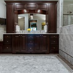double vanity with center tower.  Pinterest The world s catalogue of ideas