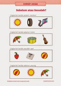 """belajar anak PAUD (TK/SD kelas 1) : konsep dasar tentang """"sesudah"""" dan """"sebelum"""" menggunakan gambar benda"""
