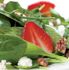A Green Salad with Strawberries and Goat Cheese goes well with a sandwich for a light lunch or with grilled chicken or salmon for delightful springy dinner.
