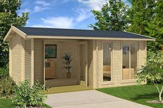 cabin kit can be used as a home office, guest house, garden house that is energy efficient and made of beautiful solid nordic spruce wood Tiny House Kits, Buy A Tiny House, Tiny House Design, Tiny Houses, Large Windows, Windows And Doors, Backyard Guest Houses, Backyard Studio, Backyard Projects