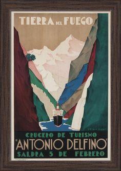 Argentina - Antonio Delfino - Tierra del Fuego - (artist: Tabrega) - Vintage Advertisement (12x18 Giclee Art Print, Gallery Framed, Espresso Wood), Multi