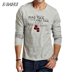 E-BAIHI Marque d'été mens coton t shirt À Manches Longues Mince T-shirt hommes casual tops t-shirts butin T-shirts camisas Masculinas CT008