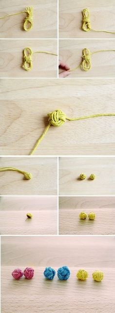 DIY Jewelry: Monkey Knot Earrings I would love to make these as a necklace instead! Diy Earrings, Tassel Earrings, Hoop Earrings, Jewelry Crafts, Handmade Jewelry, Earring Crafts, Jewelry Ideas, Monkey Fist Knot, Bijoux Diy