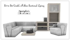 """13pumpkin31: """" Sims 4 S3 to S4 Fellow Sectional Living includes: - 8 fabric swatches - all peacemaker-ic wood 02 textures - tons of slots, for all your clutter needs - hope you enjoy! DOWNLOAD """""""