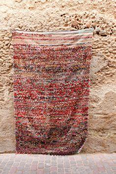 Vintage Unique Moroccan Boucherouite Rag Rug FREE by BazarMehdi