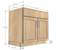 Kitchen Cabinet Sink Base 36 Full Overlay Face Frame- via Anna White- for custom cabinet under stairs