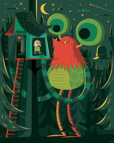 "$127.00 New #kids monster posters from Invisible Creature. Printed on stretched canvas, 24"" x 30"". #gorgeous"