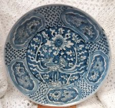 CHINESE SWATOW FINE MING PERIOD LARGE BLUE AND WHITE CHARGER - SHIP WRECK