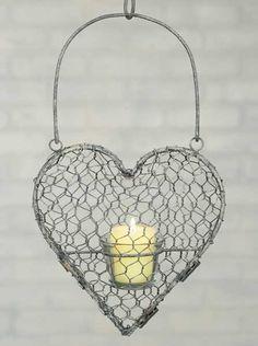Hanging Votive Heart - Chicken Wire