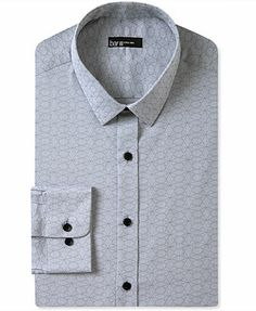 Bar III Dress Shirt, Extra Slim Black Geo Jacquard Long-Sleeved Shirt