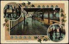 Colour postcard illustrating curling scenes