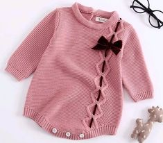 2018 Children's Bodysuit Wear Baby Knitted Baby Girls Bow Tie Long Sleeves Climbing Suits Baby Girl Clothes Bodysuit Baby - Kindermode Baby Girl Sweaters, Knitted Baby Clothes, Knitted Romper, Crochet Clothes, Long Romper, Long Sleeve Romper, Jumpsuits For Girls, Girls Rompers, Baby Rompers