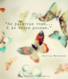 "Rough translation, ""Words fly and sometimes they land."" - Cecília Meireles"