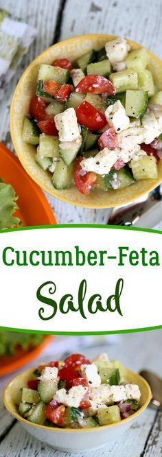 Easy Cucumber Feta Salad - quick chopped salad that is flavor packed and tidy to eat.