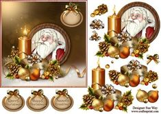 Santa's Christmas Portrait Card Front, Topper and Decoupage