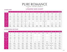 Here is the sizing chart for our wonderful lingerie. Please get with me and I can help to get you into your correct size. Pure Romance Games, Pure Romance Party, Lingerie, Pure Romance Consultant, Passion Parties, Always Learning, Beauty Care, Size Chart, Finding Yourself