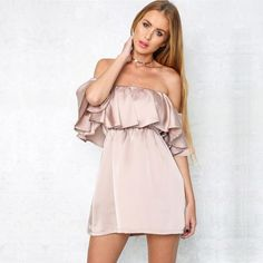 nude dress, satin dress, ruffle dress, party dress, date night dress - Lyfie