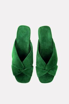 """SOFT """"Turban"""" X-SLIDE MULE IN GREEN KID SUEDEMADE IN ITALY, Italian sizingLEATHER SOLE, KID LININGAlso available in Chianti Pony Lux, Green Pony Lux, Red Suede, Black Leather, Silver Leather, Black Suede"""