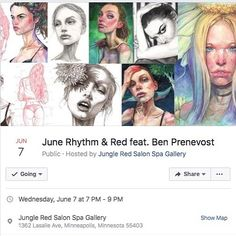 Solo art show for the month of June at @jungleredsalon opening night Wednesday, June 7th at 7pm in Minneapolis, MN, USA.  Come see my original works!  With live music and a food truck and beer and wine and I might make my brother bring cheese because art show hello. . . .  #artshow #artexhibition #drawing #painting #fashionillustration #illustration #babes #watercolorpencils #artexhibit #art #fashionportraits #models #artist #minneapolisartist #minnesotaartist #portraits #muse #muse✨…