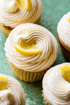 Easy creamy lemon buttercream frosting is so easy to make and pipe! Tastes best on lemon cupcakes! Recipe on sallysbakingaddiction.com