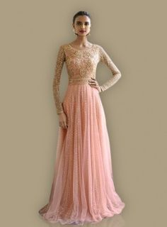 #Peach #Golden #Gown Style #Anarkali Features is on net fabric top look gives with floral embroidery in top with sparkled peach net at kalis. In pink colour Chiffon fabric dupatta with jarkan work and santoon fabric bottom.