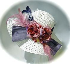 White & Plum Kentucky Derby Hat Mother of the by Marcellefinery