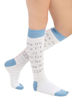 "Alphabetical Border Socks. Youll earn an ""A"" in penmanship as well as fashion when you sport these quirky, alphabet-themed knee-socks! #white #modcloth"