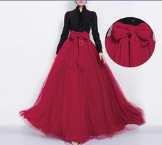 SALE Long Red Tulle Floor Length Full Pleated Skirt A-line Maxi Bohemian Wedding Bridesmaid Party Prom Dress Big Sweeep Evening Ball Gown