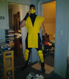 If you want to make an inexpensive Scorpion Costume ( Or any of the other colored ninjas such as Sub Zero, Reptile, or whoever ) ,this is the perfect way. The design I went for myself was a combo of MK and MKII scorpion.  The yellow cloth resembles the MK style and the leg guards and mask are from the MKII style.  If you are good at sewing, and want a complete MKII style, you can search for yellow diamond patterned fabric.  You need to be able to sew in order to cut and stitch ...