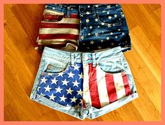 tons of DIY Shorts! The top pair, Fourth of July apparel