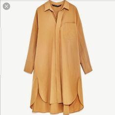 Zara dress shirt tan Very cute - can be worn as a dress or under the sweater. Muslim Fashion, Modest Fashion, Hijab Fashion, Fashion Outfits, Long Shirt Outfits, Moda Zara, Vestidos Zara, Camisa Formal, Tunic Designs