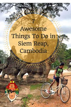Home of the renowned Angkor Temple complex #SiemReap lies in the northwestern part of #Cambodia and is a favorite stopover in #SouthEastAsia for backpackers traveling by bus from Thailand, Vietnam, Laos, and Phnom Penh. With so many unique things to experience in Siem Reap it can be overwhelming trying to decide what to do.  Below are 7 awesome bucket list items you should include on your itinerary. Where to stay in Cambodia? Check out this list. #ThingsToDo #TwoMonkeysTravelGroup