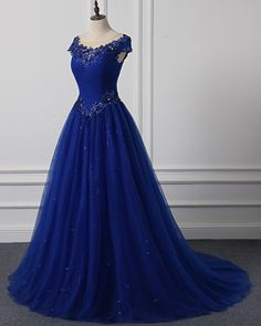 Royal Blue Tulle Cap Sleeve Floor Length Formal Prom Dress With Applique from Sweetheart Dress Cheap Prom Dresses by SweetheartDress · Royal Blue Tulle Cap Sleeve Floor Length Formal Prom Dress With Applique Pagent Dresses, Prom Dresses For Teens, Ball Gown Dresses, Colored Wedding Dresses, Cheap Prom Dresses, Stylish Dresses, Formal Dresses, Cap Dress, Beautiful Evening Gowns