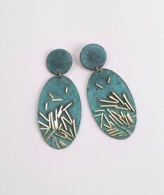 earrings, 2015 : patinated silver, gold by Ambroise Degenève