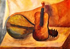 Still-Life Painting in Acrylics Colors Violin Art – Painting in acrylics in a still life study on paper. Brown, red and orange shades complement the curvy shapes of the music instruments. These two painting artworks: Violin painting Violin Painting, Violin Art, Painting & Drawing, Watercolor Paintings, Orange Shades, Acrylic Tutorials, Oil Painting Techniques, Acrylic Colors, Acrylics