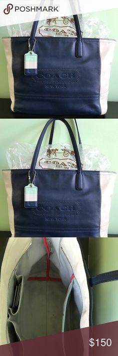 COACH Tote COACH ColorBlock Leather Medium Tote. EUC. Navy Blue and Cream topped with a touch of Mint Green. Perfect for traveling. Mega storage. Zip closure. Coach Bags Totes