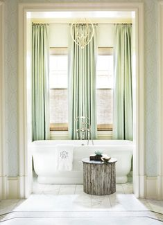 Seafoam green and blue elegant bathroom design