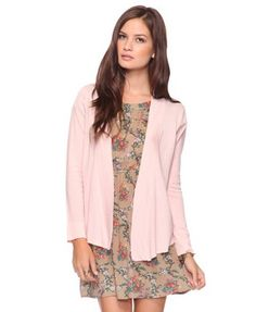 pink cardigan and floral dress