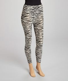 Take a look at the Black & White Zebra Leggings - Women on #zulily today!