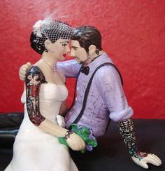 Tattooed Wedding Cake Topper . Bride & Groom Tattoos . Custom Painted and Personalized to Resemble You ToHellinAHandbag, $240.00 #rockabilly #tattoo #wedding