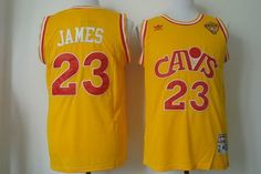 Men's Cleveland Cavaliers #23 LeBron James 2016 The NBA Finals Patch CavFanatic Yellow Hardwood Classics Soul Swingman Throwback Jersey