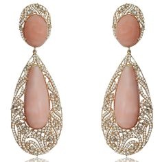 Sutra Pink Opal Earrings, Created in Rose Gold and set with a staggering Pink Opal surrounded by Diamonds Opal Earrings, Jewellery Earrings, Chandelier Earrings, Coral Jewelry, Gold Jewellery Design, Pink Opal, Indian Jewelry, Diamond Engagement Rings, Jewelery